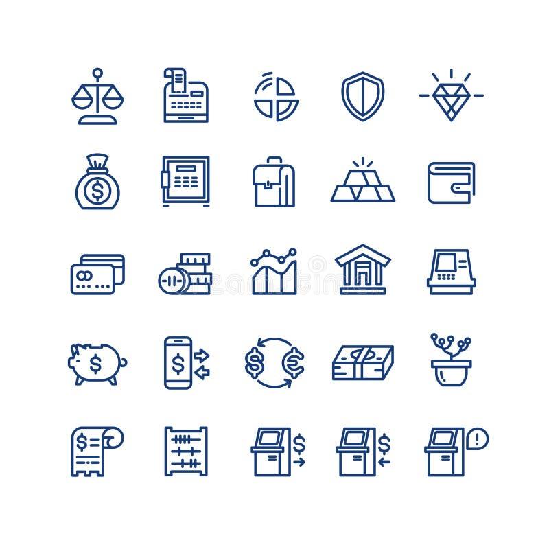 Linjen in symboler för vektorn för affären för pengarfinansbetalningar ställde den tunna stock illustrationer
