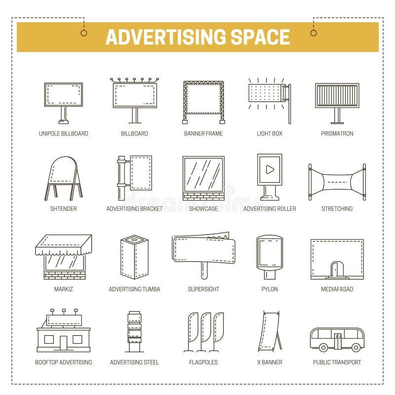 Linjen in symboler för vektorn för utrymmen för konstruktioner för advertizingmassmedia ställde den tunna stock illustrationer
