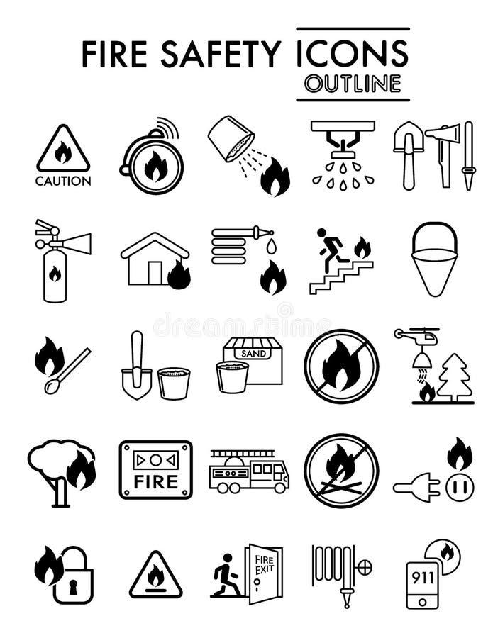 Linjen symbolsuppsättningen, nöd- symboler samlingen, vektor för brandsäkerhet skissar, logoillustrationer, linjärt larmtecken royaltyfri illustrationer