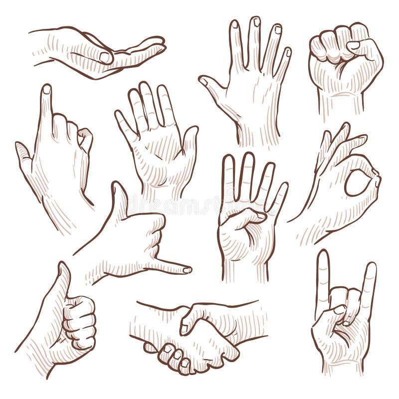 Linjen teckningsklotter räcker visningen den gemensamma teckenvektorsamlingen royaltyfri illustrationer
