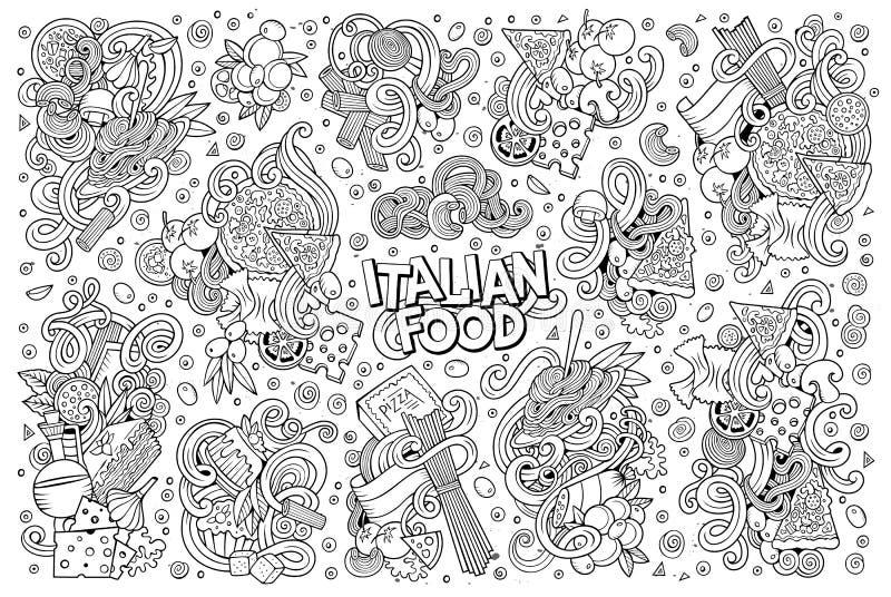Linjen uppsättning för konstvektortecknad film av italiensk mat anmärker royaltyfri illustrationer