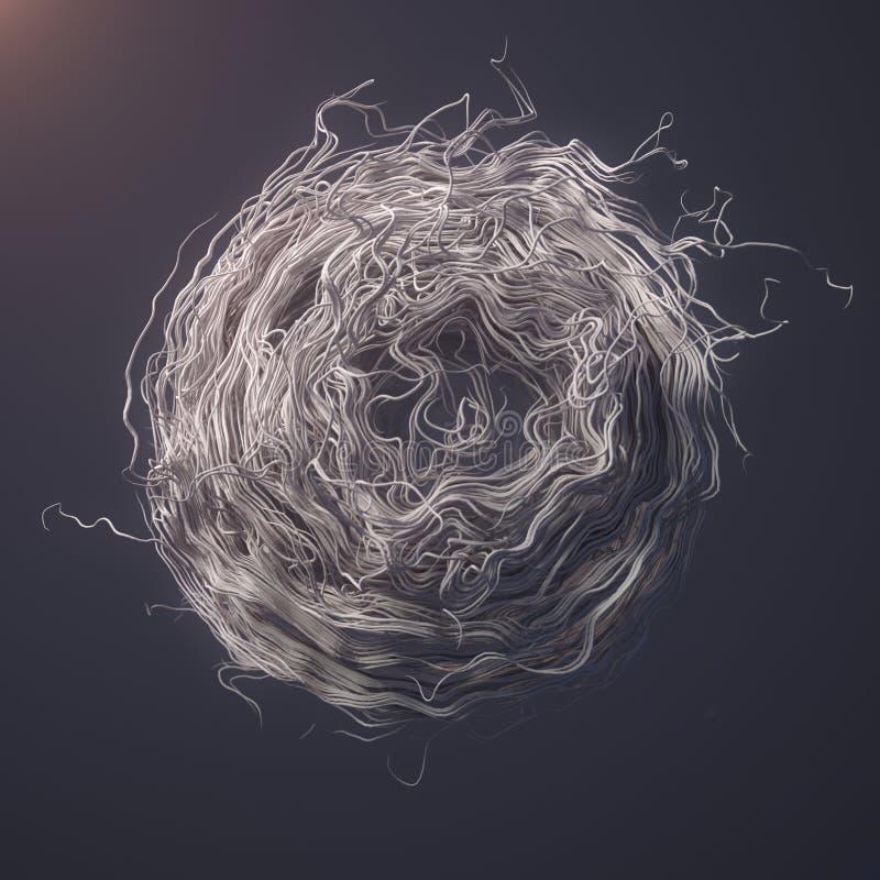 Linjer 3d-tolkning för abstrakt begrepp för krullningsoväsenflöde vita royaltyfria bilder