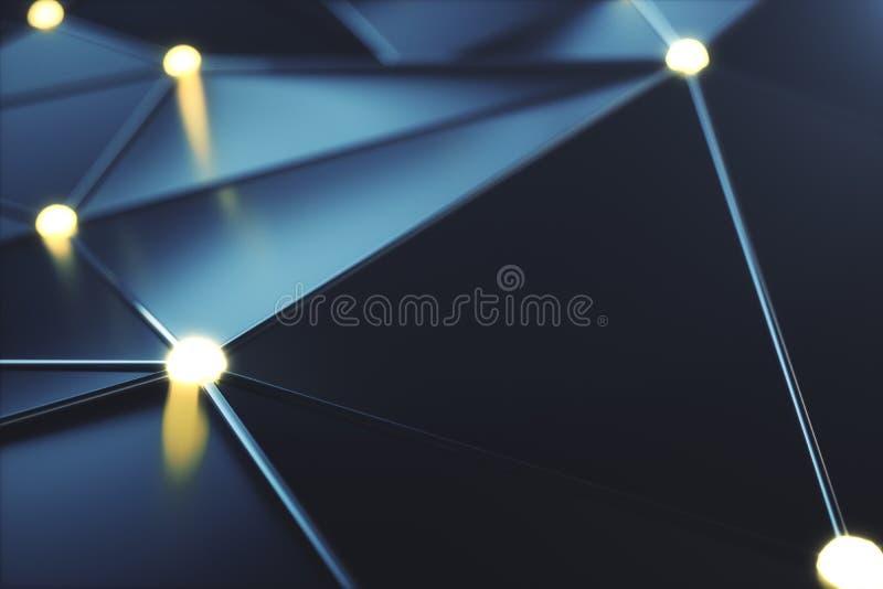 linjer för anslutning för abstrakt begrepp för tolkning 3D futuristiska och glödande prickar Supercomputerteknologi, beräknande m stock illustrationer