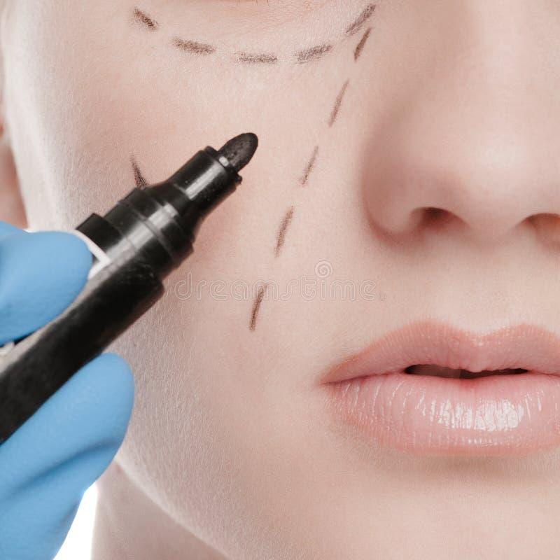 Linjer för Beauticiandrawkorrigering på kvinnaframsida royaltyfri bild