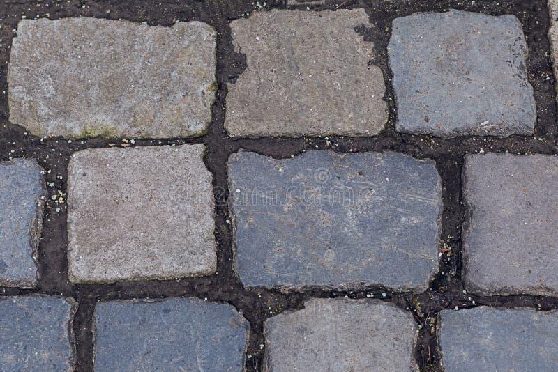 Linjer för fast fundament för sten för grå granit för kullersten som rektangulära är mörka mellan den fasta substraten för kvarte royaltyfri foto