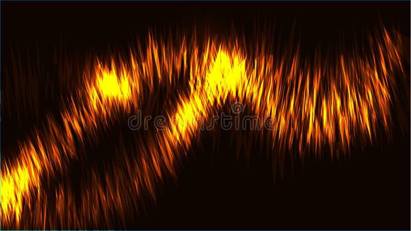 Linjer för neon för abstrakt guld- gul brand för textur magiska glödande ljusa glänsande av vågor av remsor av trådar av energimo vektor illustrationer