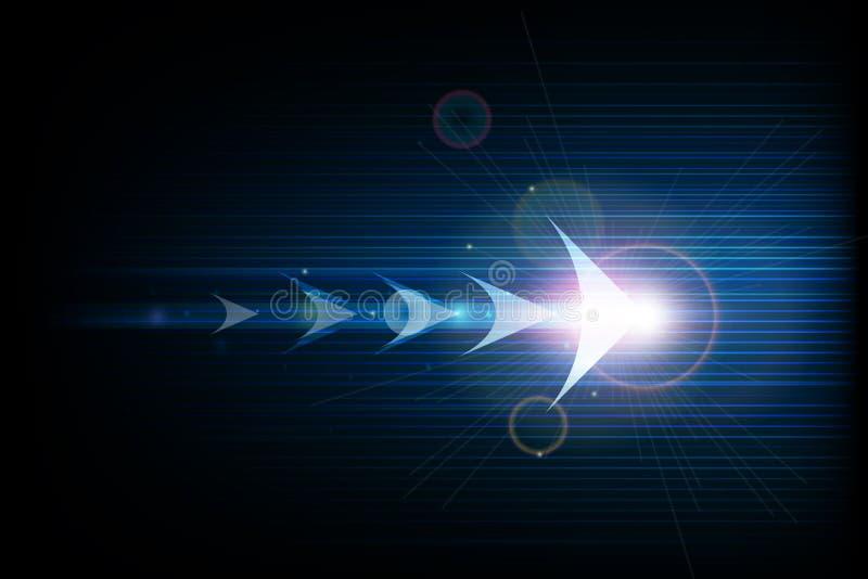Linjer för symbol för pil för vektorillustrationabstrakt begrepp framåt och släta i mörker - blå färgbakgrund stock illustrationer