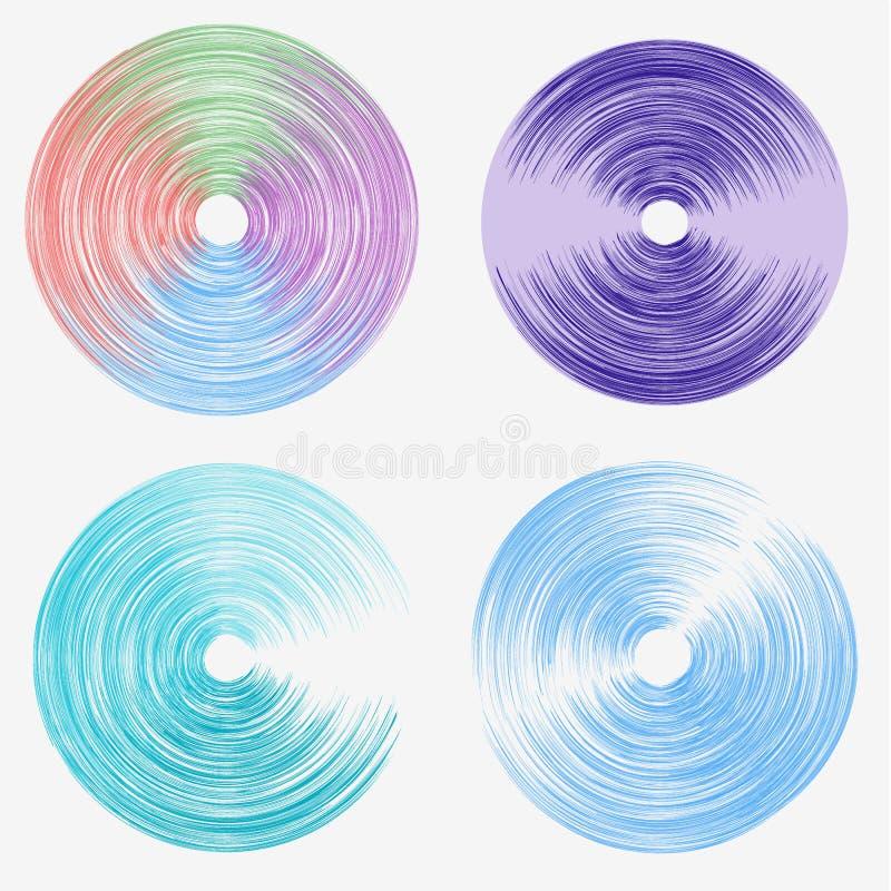 Linjer för vektorrundahastighet En uppsättning av kulöra ellipser Abstrakt begreppcirklar av propellern Roterande rund symbol stock illustrationer