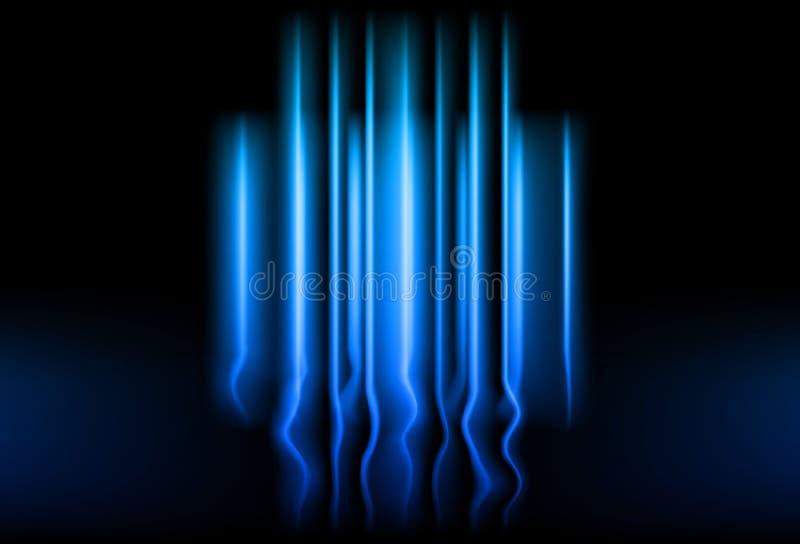 Linjer glödande abstrakt begrepp b för begrepp för teknologi för neon för ljusa strålar blått vektor illustrationer