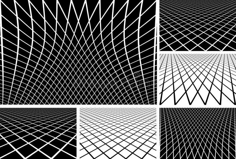 Linjer latticed modelluppsättning vektor illustrationer