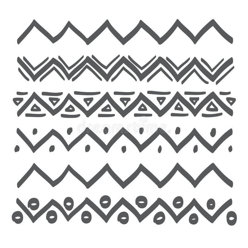 Linjer räcker den utdragna designbeståndsdelvektorn vektor illustrationer