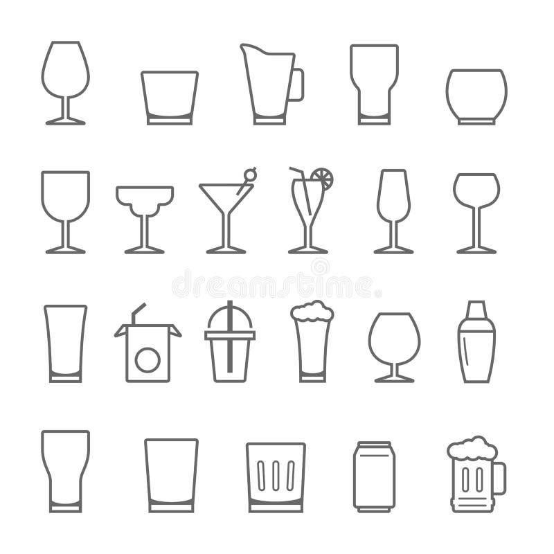 Linjer symbolsuppsättning - exponeringsglas och dryck royaltyfri illustrationer
