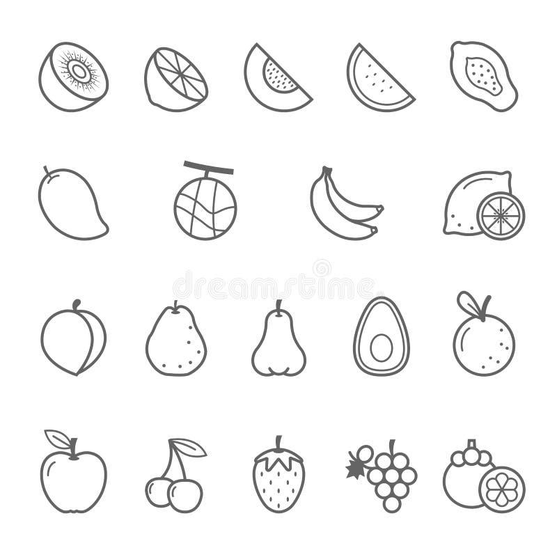 Linjer symbolsuppsättning - frukt vektor illustrationer