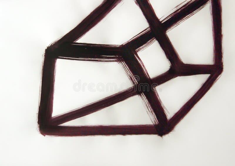 Linjer utdragen volymetrisk kub, fyra-dimensionellt diagram arkivbild