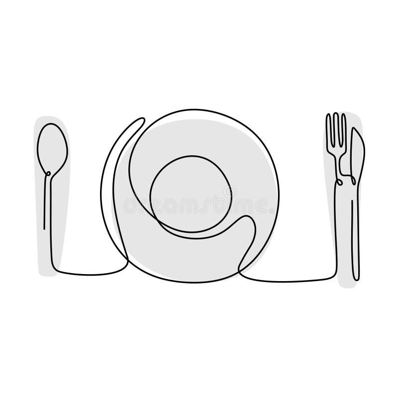 linjeritning av plåt, kniv och gaffel Kontinuerligt ritat skiss Vector-illustration av minimalistisk design vektor illustrationer