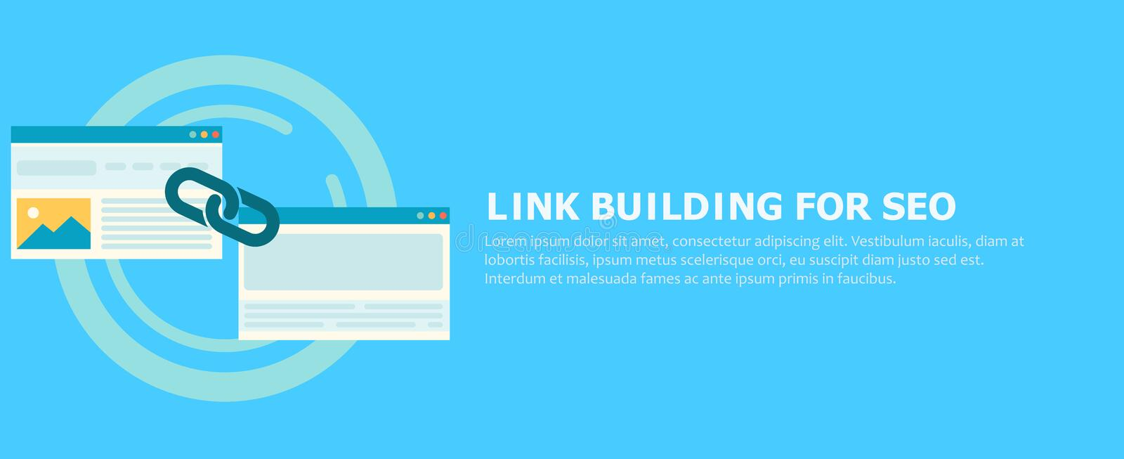 Link building for seo banner. Two pages are connected by a chain royalty free illustration