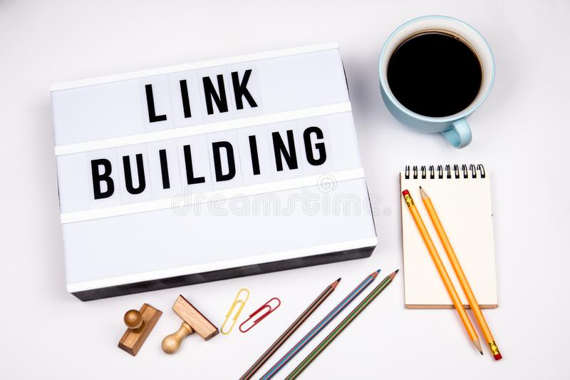 Link Building. Text in lightbox stock photos