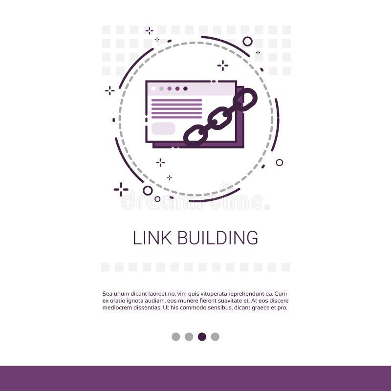 Link, der Seo Keywording Search Banner With-Kopien-Raum errichtet stock abbildung