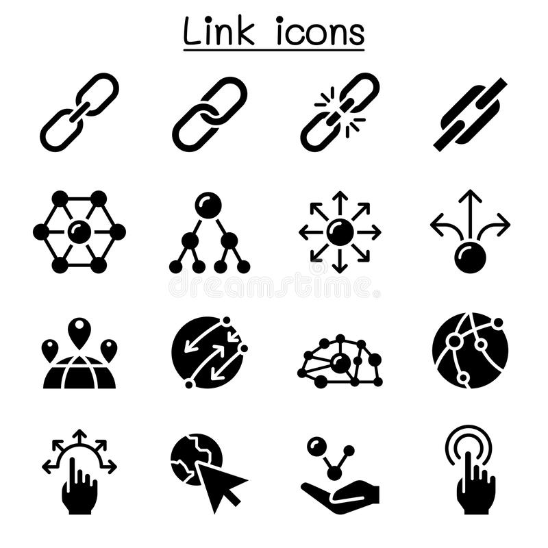 Free Link Icon Set Royalty Free Stock Images - 104490039