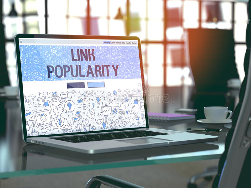 Link Popularity - Concept on Laptop Screen. 3D. stock image