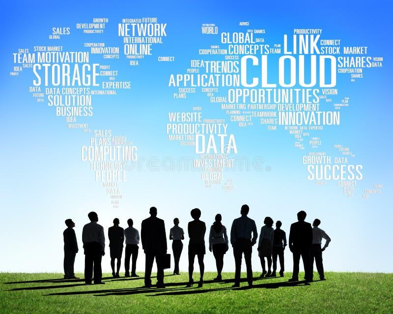 Link-Wolken-Komputertechnologie-Daten-Informations-Konzept lizenzfreie abbildung