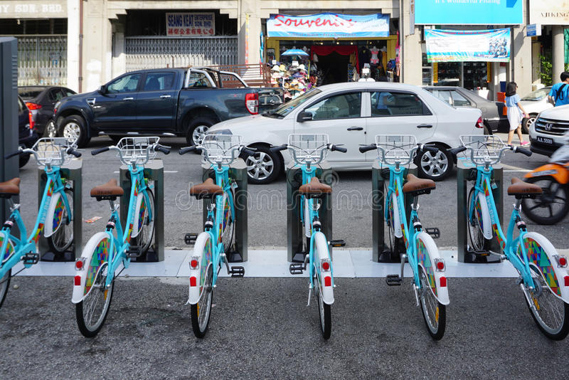 Linkbike, automatic rentable bike stand on the road in old town stock photography