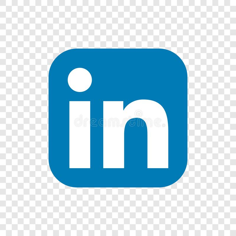 Linkedin. Popular social media linkedin icon button on  transparent isolated white background royalty free illustration