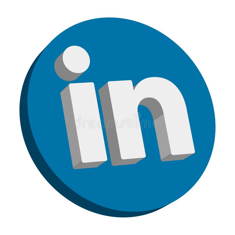 Linkedin. Popular social media linkedin icon button on  transparent isolated white background vector illustration