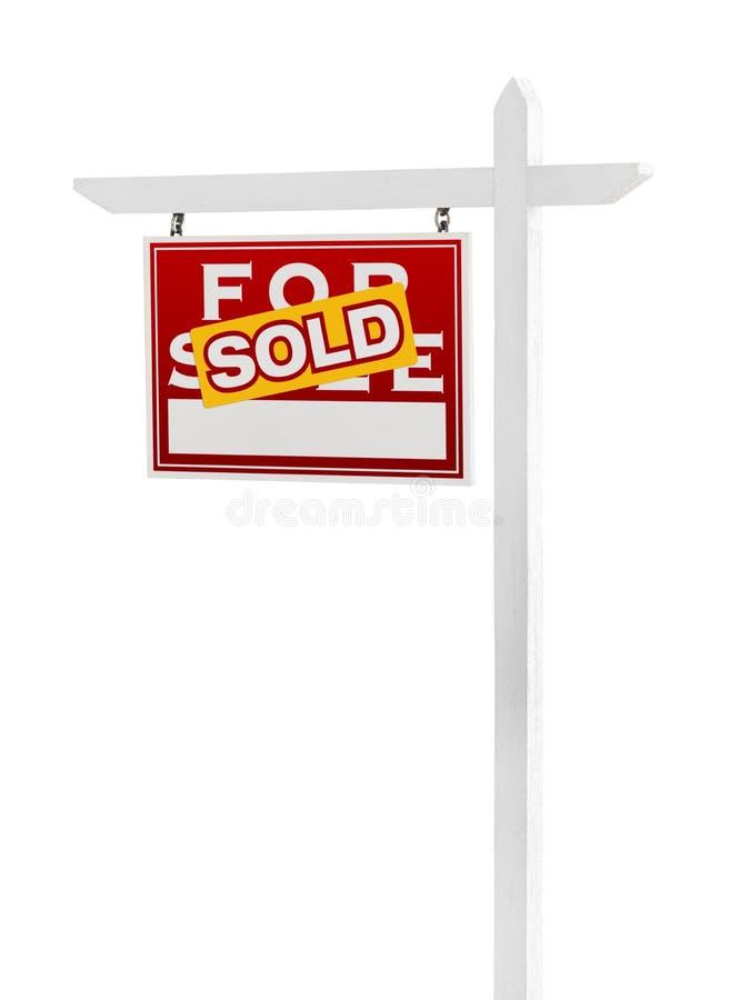 Linke Einfassung verkauft für Verkaufs-Real Estate-Zeichen auf Weiß vektor abbildung