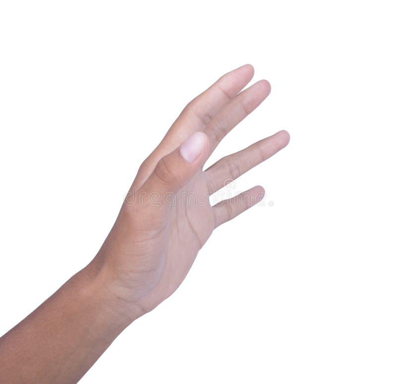 Linke Hand auf weißem Hintergrund lizenzfreies stockbild