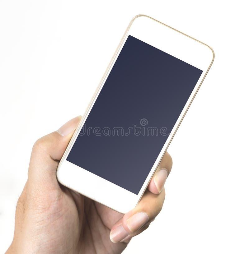 Linke Hand, die leeren weißen Handyschirm lokalisiert hält stockbild