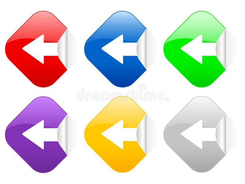 Linke quadratische Aufkleber des Pfeiles stock abbildung