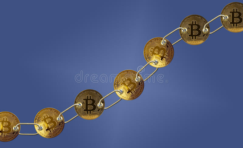 Linked bitcoins with blue background for blockchain royalty free stock images