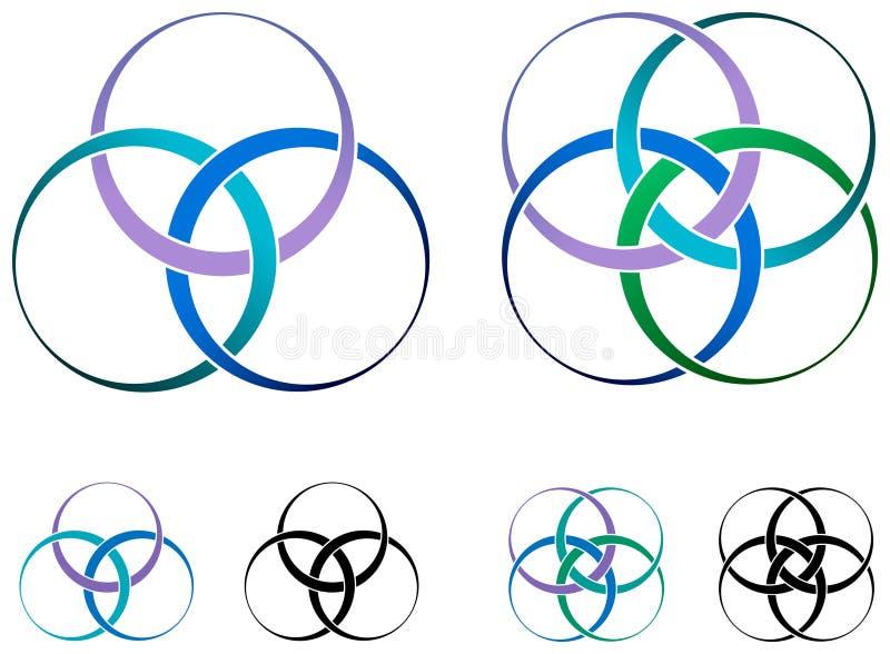 Linked circles Logo. Isolated illustrated linked circles logo set stock illustration