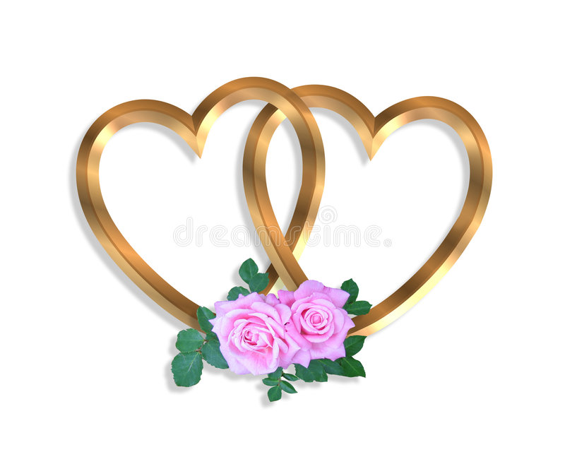 Linked Gold Hearts and roses 3D royalty free stock photo