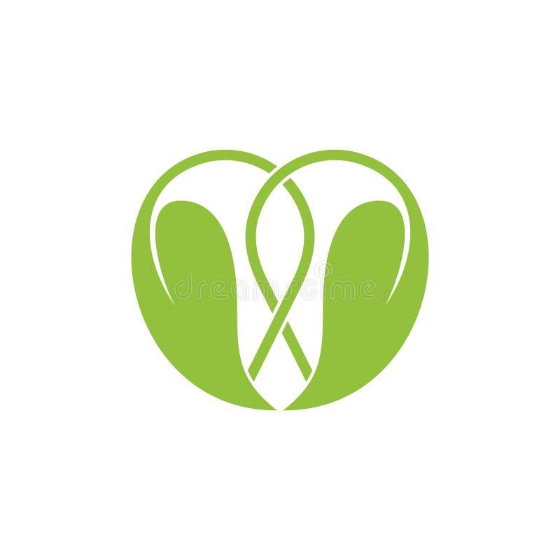 Linked green leaf love shape logo vector vector illustration