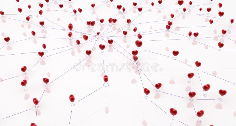 Download Linked Heart Network stock illustration. Image of uplink - 22936403