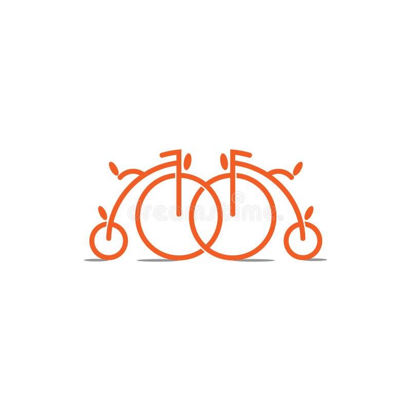 Linked vintage bike symbol decoration vector royalty free illustration