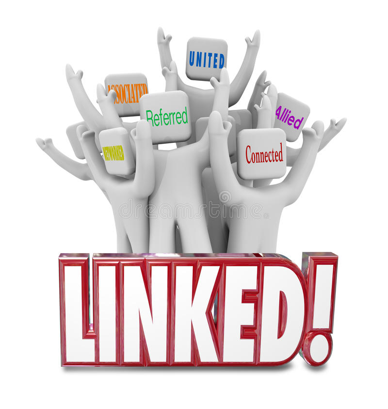 Linked Words Connected Allied United Referrals People Networking royalty free stock photography