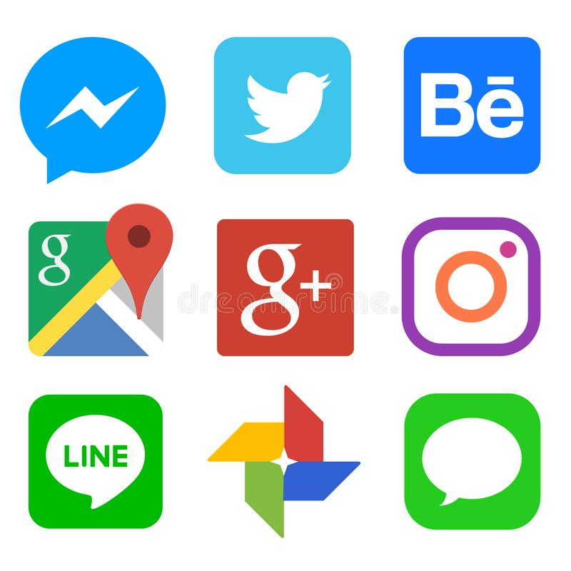 Linkedin的,Pinterest,Gmail,Chrome,谷歌,Twitter,Behance,Vimeo,翻转者社会媒介象 皇族释放例证