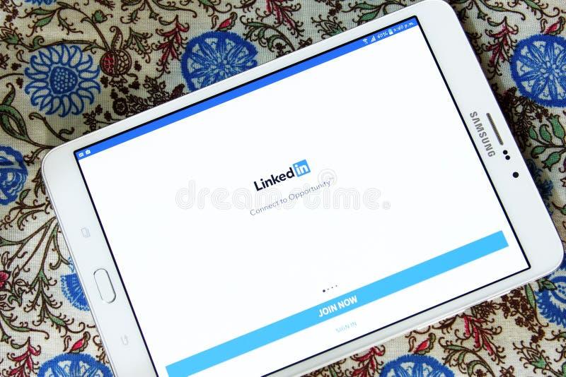 Linkedin αρρενωπό κινητό app στοκ εικόνες