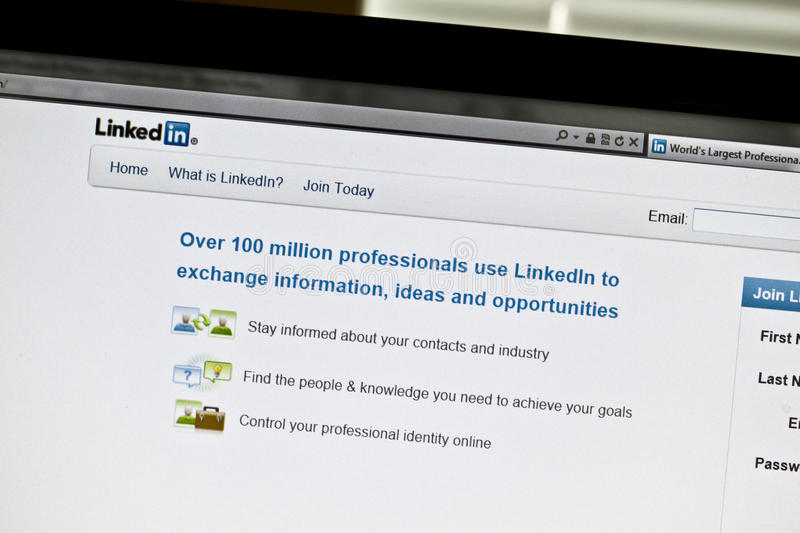 LinkedIn. Website on computer screen