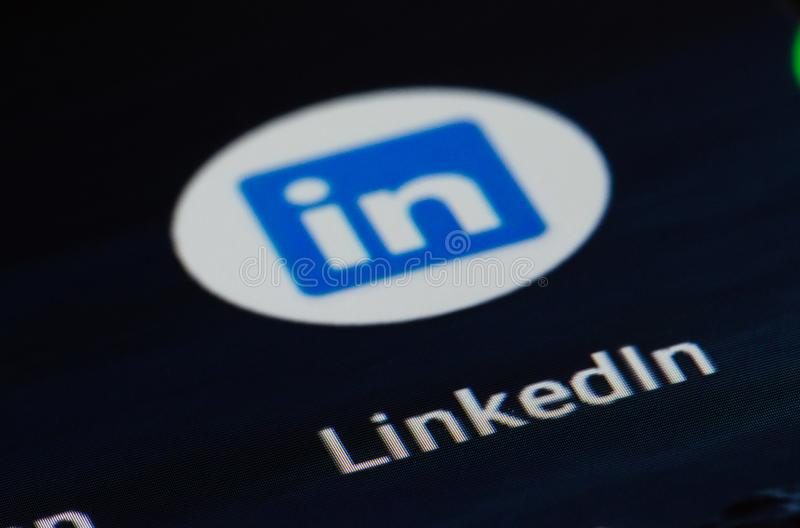LinkedIn app. Business and employment-oriented service that operates via websites and mobile apps royalty free stock photography
