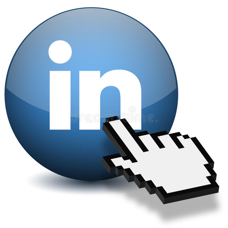 Linkedin Button. 3D Linkedin Button with hand mouse cursor