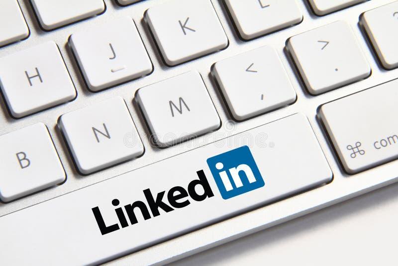 Linkedin button. Johor, Malaysia - Jun 14, 2014: Linkedin icon on keyboard button, Linkedin is a popular free social networking website in the world, Jun 14