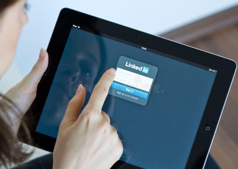 Linkedin. Professional network app on digital tablet