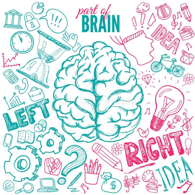 Linker en juiste hersenenfuncties royalty-vrije illustratie
