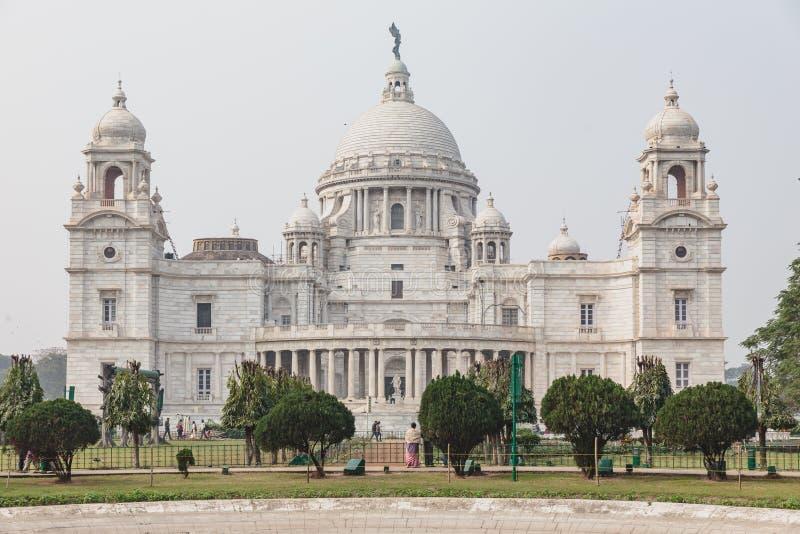 Linkerkant van VIctoria Memorial Hall in Kolkata, India stock fotografie