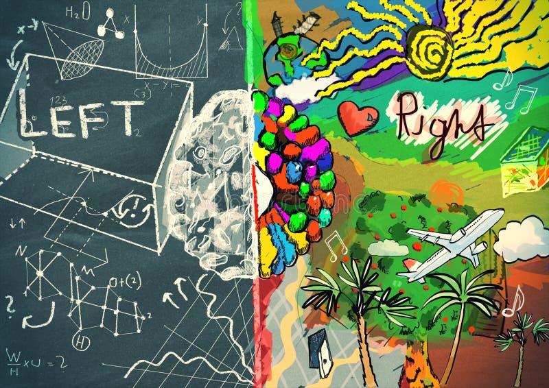 Linkerzijde en rechterkant van de menselijke illustratie van het hersenenconcept vector illustratie