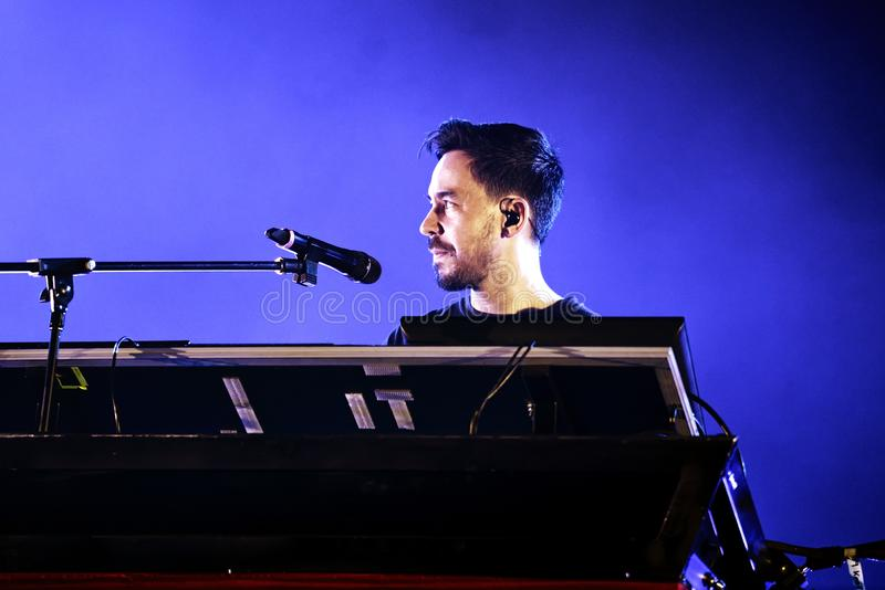 Linkin Park music band perform in concert at Download heavy metal music festival. MADRID - JUN 22: Linkin Park music band perform in concert at Download heavy stock photos